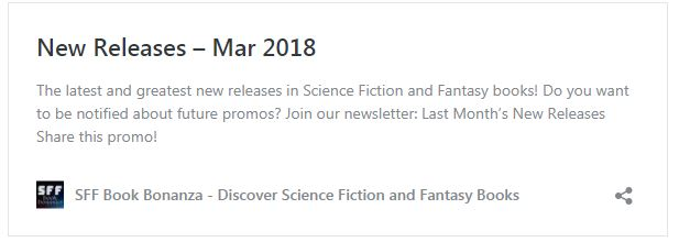 SFF Bonanza New Book Releases March 2018